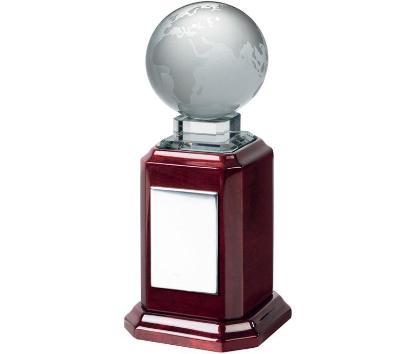 "Optical Crystal Globe Award on Piano Wood Base 23cm (9"")"