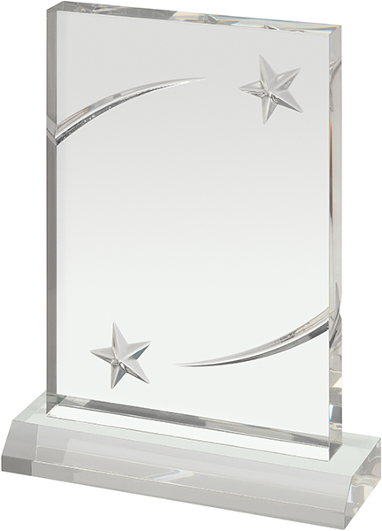 "Clear Acrylic Award with Embossed Stars 18cm (7"")"