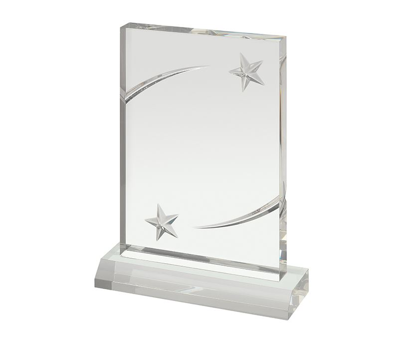 """Clear Acrylic Award with Embossed Stars 18cm (7"""")"""