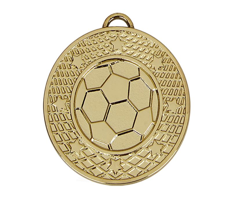 """Gold Football Stars & Net Medal with Red, White & Blue Ribbon 5cm (2"""")"""