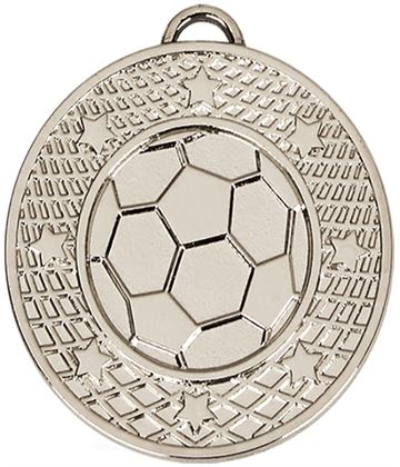 "Silver Football Stars & Net Medal with Red, White & Blue Ribbon 5cm (2"")"