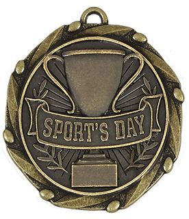 "Antique Gold Sports Day Medal with Red, White & Blue Ribbon 4.5cm (1.75"")"
