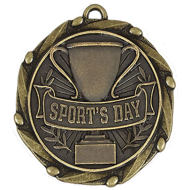 """Antique Gold Sports Day Medal with Red, White & Blue Ribbon 4.5cm (1.75"""")"""