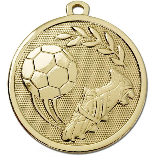 "Gold Galaxy Football Boot & Ball Medal 45mm (1.75"")"
