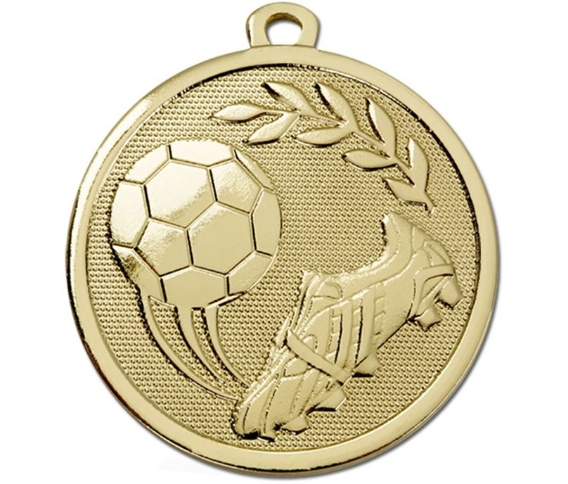 "Gold Galaxy Football Boot & Ball Medal 45mm (1.75"")"