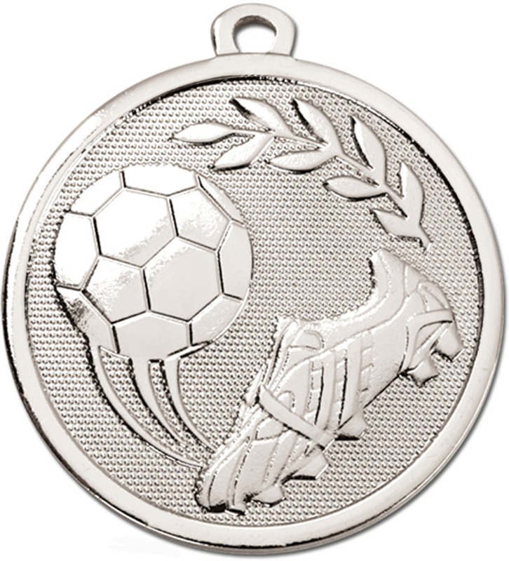 "Silver Galaxy Football Boot & Ball Medal 45mm (1.75"")"