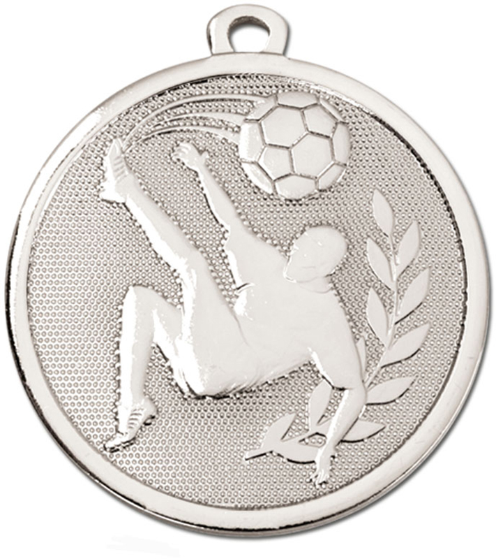"Silver Galaxy Football Kick Medal 45mm (1.75"")"