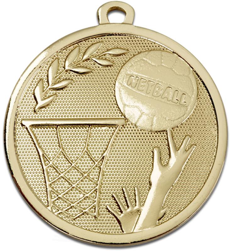 "Gold Galaxy Netball Medal 45mm (1.75"")"