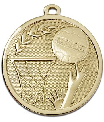 "Gold Galaxy Netball Medal 45mm (1.75"")"