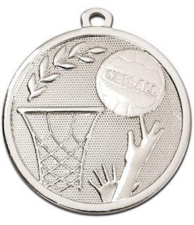 "Silver Galaxy Netball Medal 45mm (1.75"")"