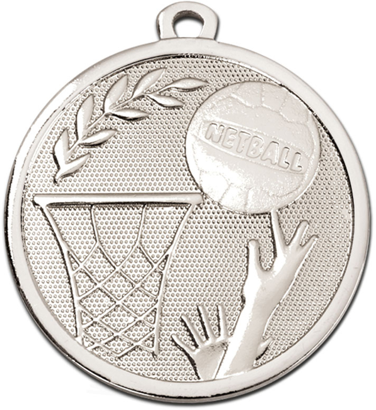 "Silver Galaxy Netball Medal 45mm (1.75"")"