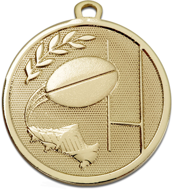 "Gold Galaxy Rugby Medal 45mm (1.75"")"