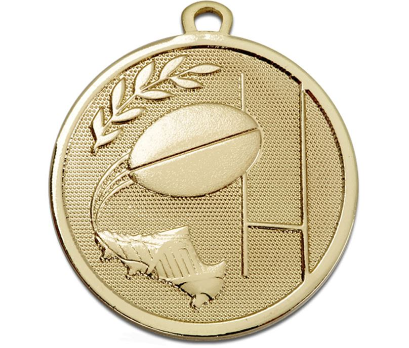 """Gold Galaxy Rugby Medal 45mm (1.75"""")"""