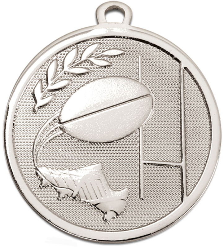 "Silver Galaxy Rugby Medal 45mm (1.75"")"