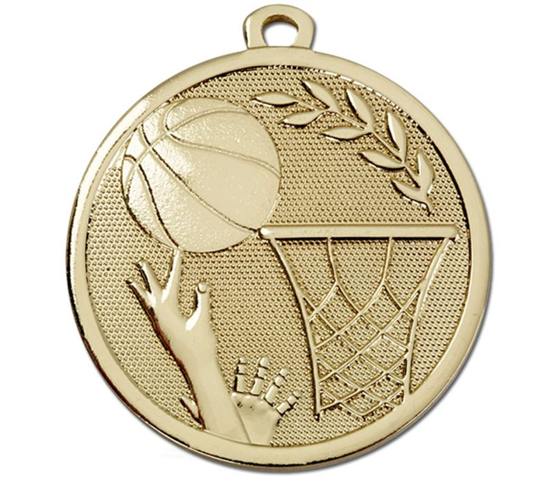 "Gold Galaxy Basketball Medal 45mm (1.75"")"