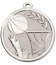 """Silver Galaxy Basketball Medal 45mm (1.75"""")"""