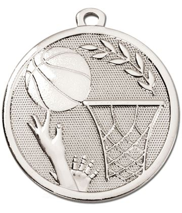 "Silver Galaxy Basketball Medal 45mm (1.75"")"