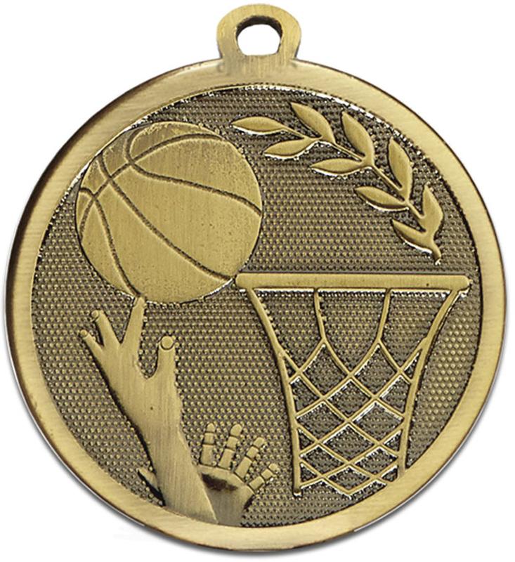 "Bronze Galaxy Basketball Medal 45mm (1.75"")"