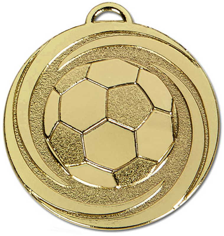 "Gold Target Twirl Football Medal 50mm (2"")"