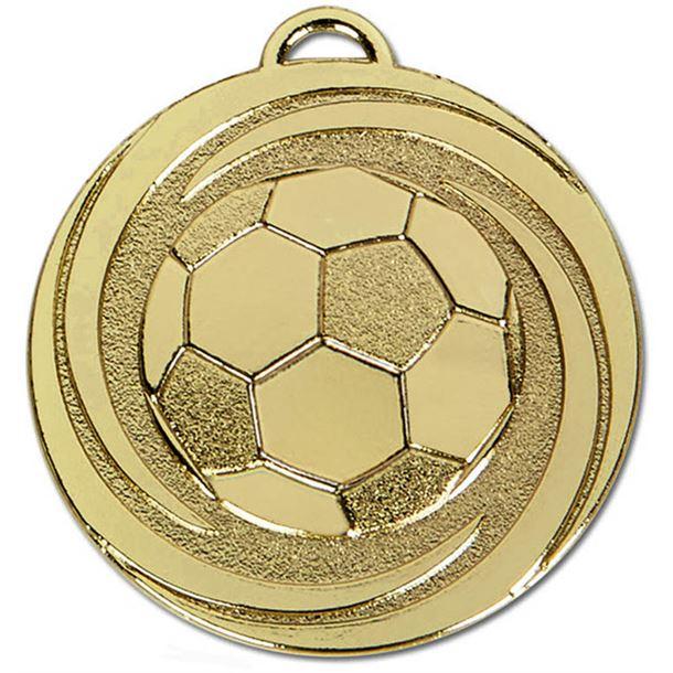 "Gold Target Twirl Football Medal 50mm (2"")"