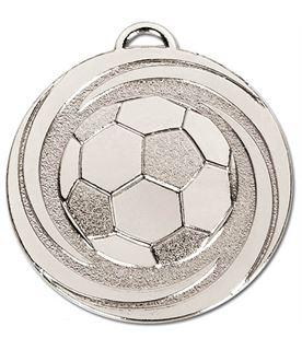 "Silver Target Twirl Football Medal 50mm (2"")"