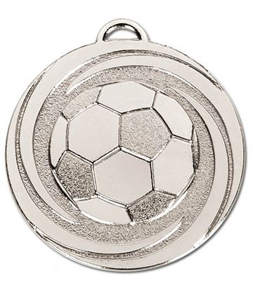 "Silver Target Twirl Football Medal 50mm (2"")"
