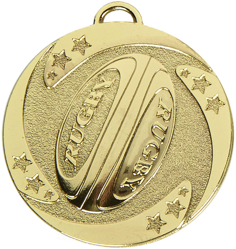 "Gold Target Rugby Stars Medal 50mm (2"")"