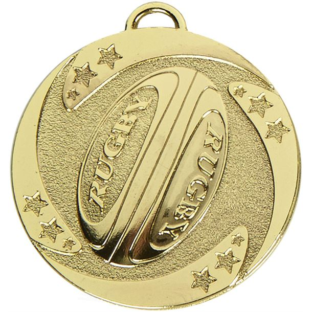 "Gold Target Rugby Stars Medal 50mm (2"")"