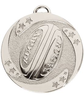 """Silver Target Rugby Stars Medal 50mm (2"""")"""