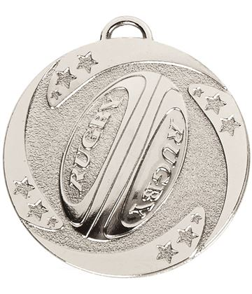"Silver Target Rugby Stars Medal 50mm (2"")"