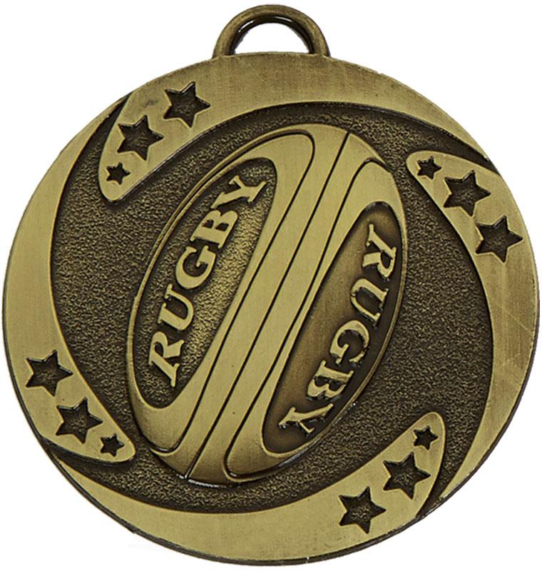 "Bronze Target Rugby Stars Medal 50mm (2"")"
