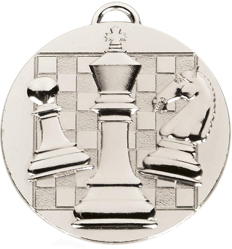 "Silver Target Chess Medal 5cm (2"")"