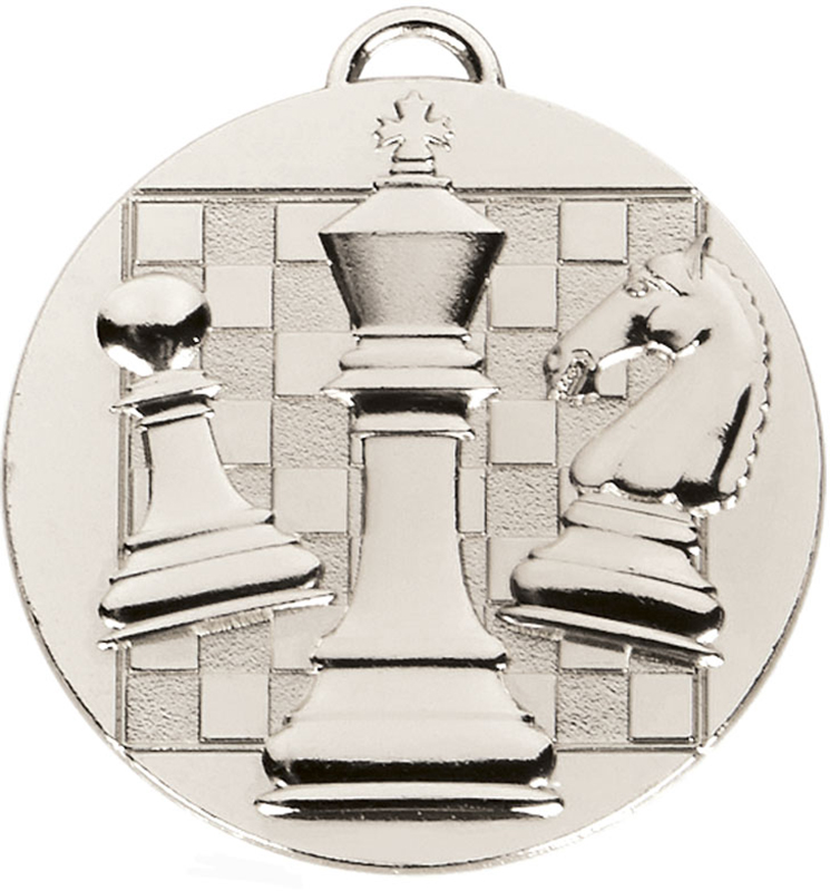 "Silver Target Chess Medal 50mm (2"")"