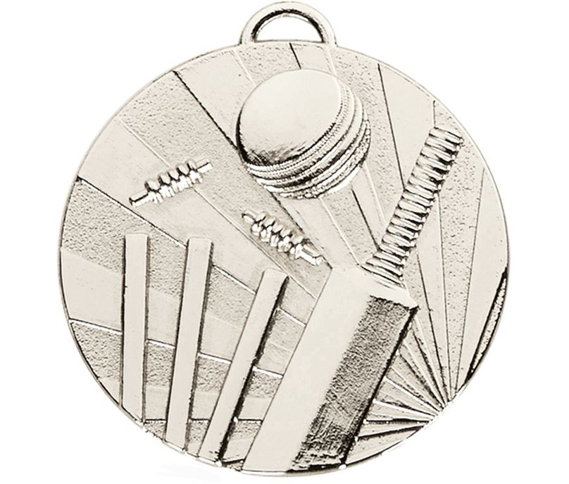 "Silver Target Cricket Medal 50mm (2"")"