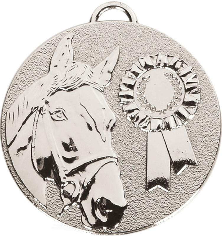 """Silver Target Horse Rosette Medal 50mm (2"""")"""