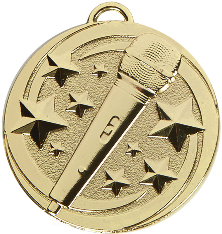 "Gold Target Microphone Medal 50mm (2"")"