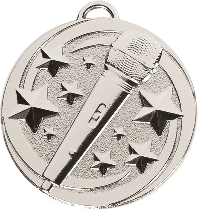 "Silver Target Microphone Medal 50mm (2"")"