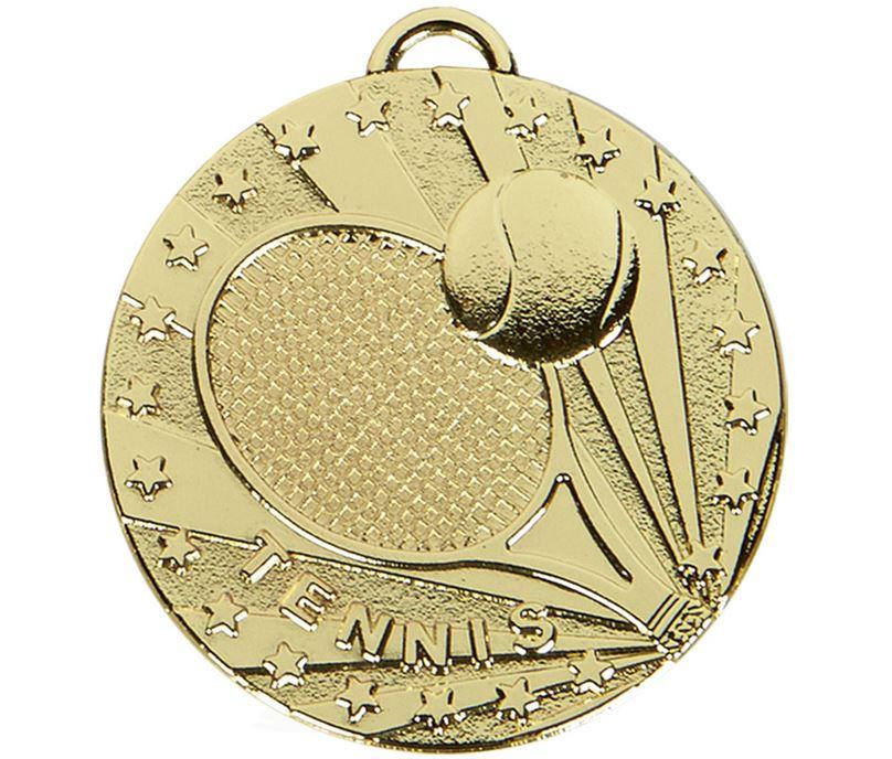 "Gold Target Tennis Medal 50mm (2"")"