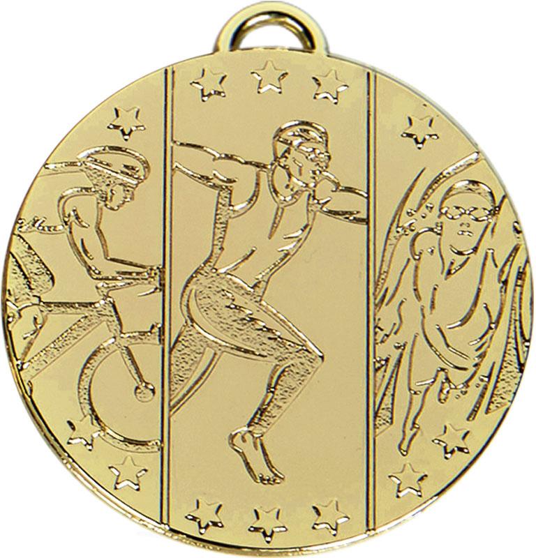 "Gold Target Triathlon Medal 50mm (2"")"