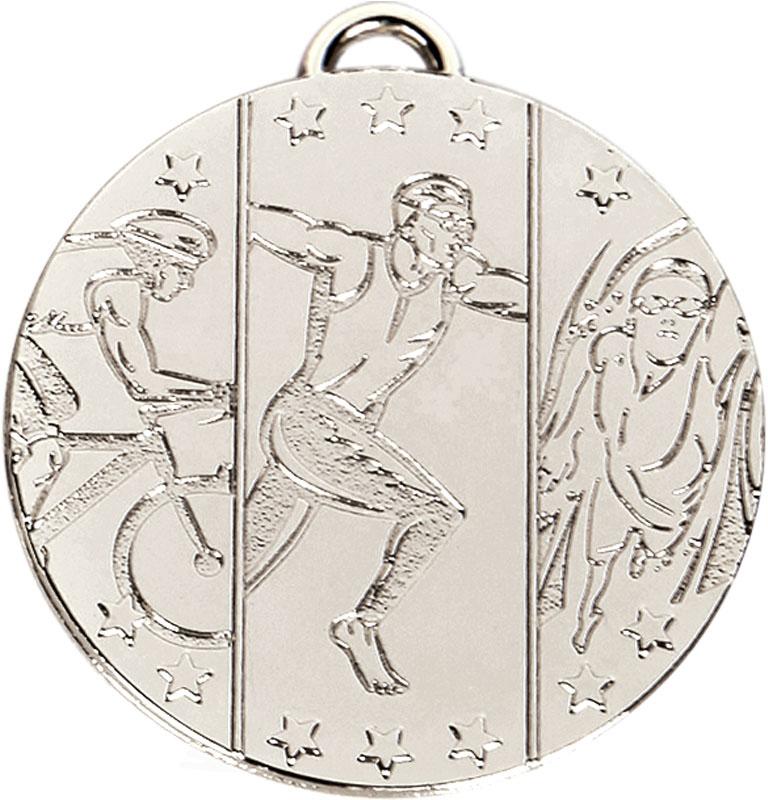 """Silver Target Triathlon Medal 50mm (2"""")"""