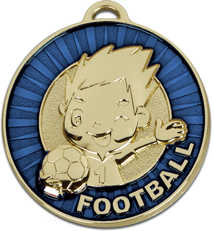 "Kidz Blue Football Medal 50mm (2"")"