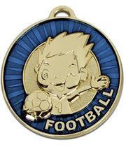 "Kidz Blue Football Medal 50mm (2"")"