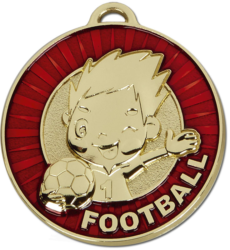 "Kidz Red Football Medal 50mm (2"")"