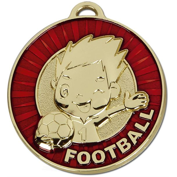 "Kidz Red Football Medal 50mm (2"")"