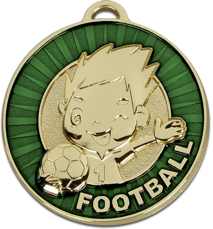"Kidz Green Football Medal 50mm (2"")"