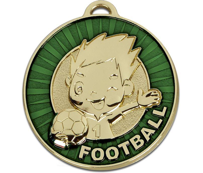 """Kidz Green Football Medal 50mm (2"""")"""