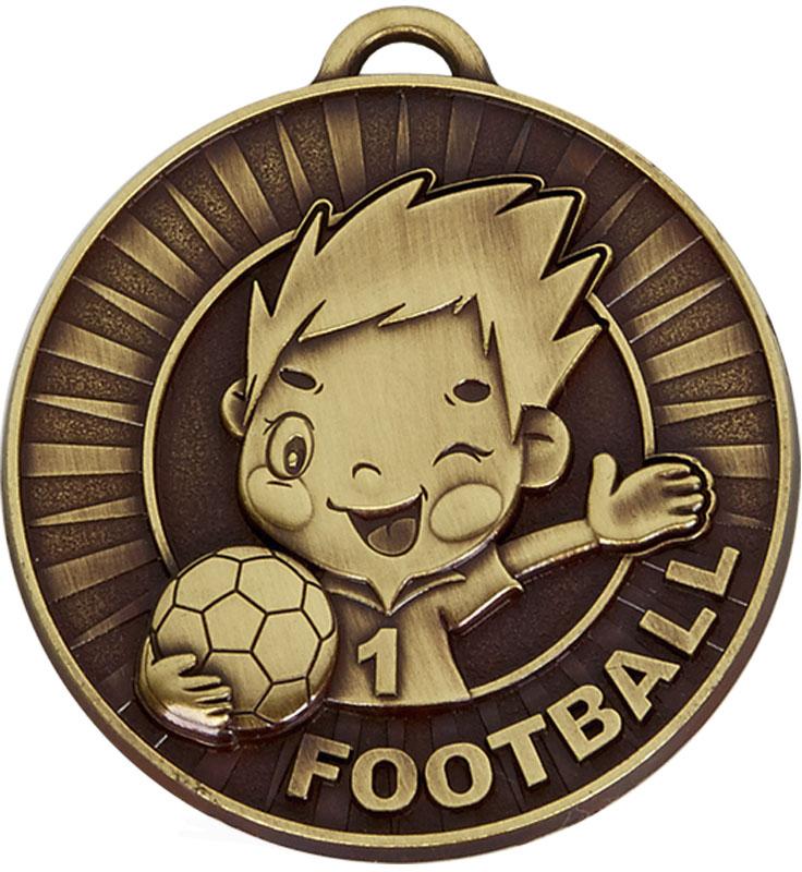 """Kidz Bronze Football Medal 50mm (2"""")"""