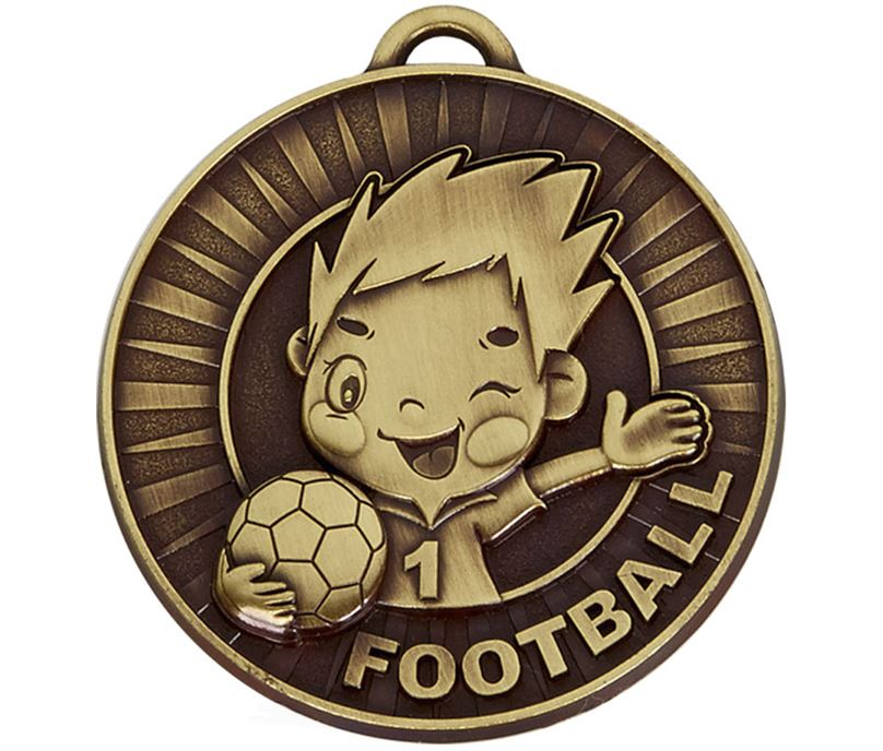 "Kidz Bronze Football Medal 50mm (2"")"