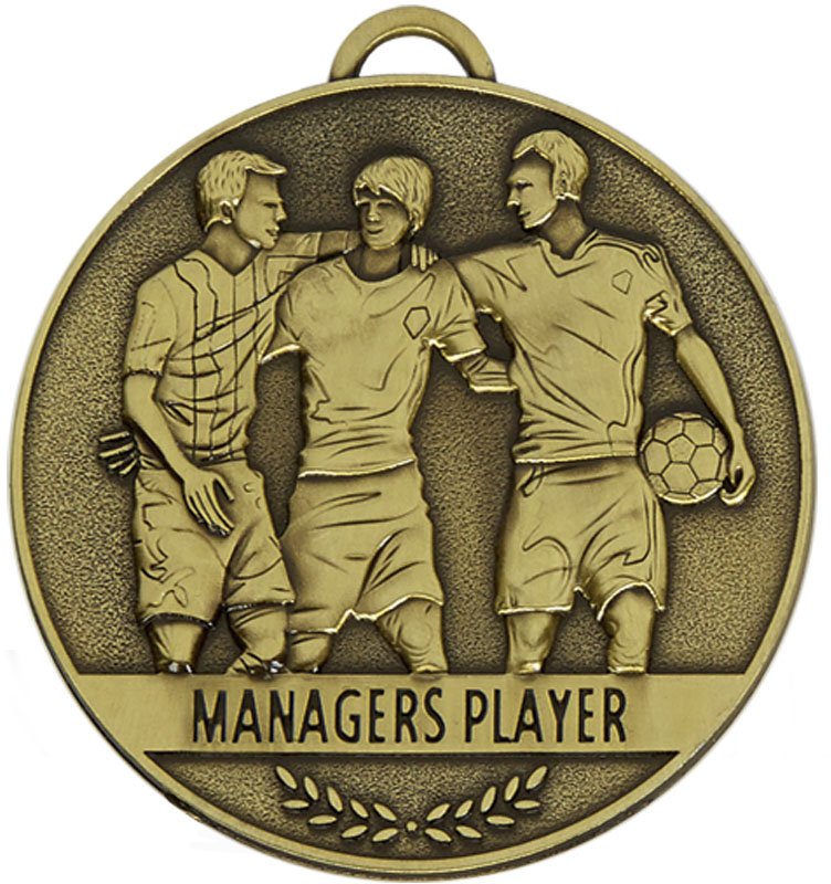 """Team Spirit Managers Player Medal 60mm (2.25"""")"""
