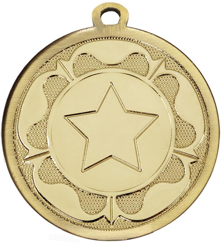 """Gold Galaxy Tudor Rose Medal 45mm (1.75"""")"""